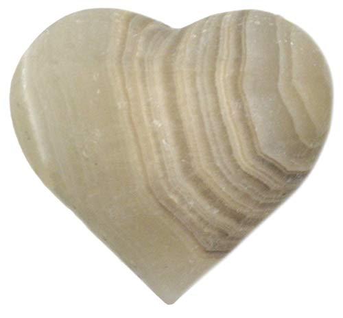 Earthen - Figura de corazón de ónix Gris, 4,4 cm de Largo, 5,08 cm de Ancho, 2,54 cm de Alto, 2,54 kg – sin Pulido, Tallado de Real ónix norteamericano – La Serie de Artesanos minados por HBAR