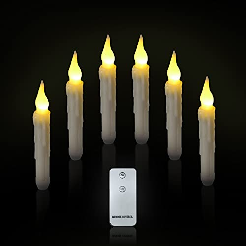 LED Taper Candles, Ymenow 6pcs Battery Operated LED Flameless Window Candle Lights with Remote Control for Holiday Festivals Wedding Parties Home Table Decoration (Batteries Not Included) - Warm White