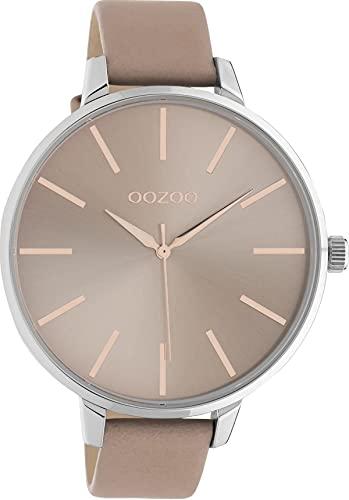 Oozoo Damenuhr mit Lederband 48 MM Silberfarben/Pinkgrau C10711