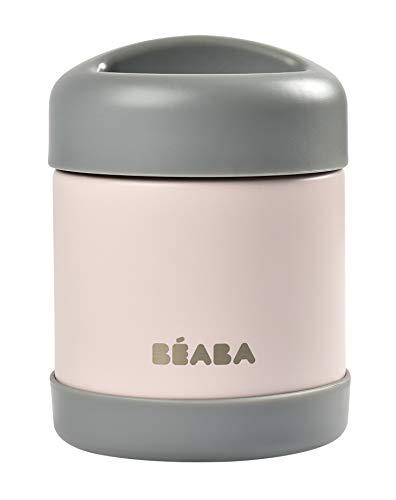 BÉABA - Isolierender Thermobehälter für Mahlzeiten - Für Babys und Kinder - 100 % luftdicht - Edelstahl - Hält mehr als 5 Stunden lang kalt/warm - Doppelwandig - 300 ml - Grau/Rosa