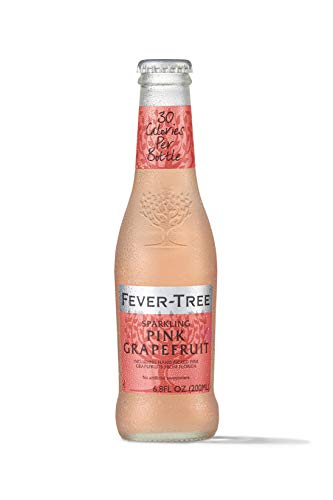Fever-Tree Sparkling Pink Grapefruit Drink Glass Bottles, No Artificial Sweeteners, Flavorings & Preservatives, 6.8 Fl Oz (Pack of 24)