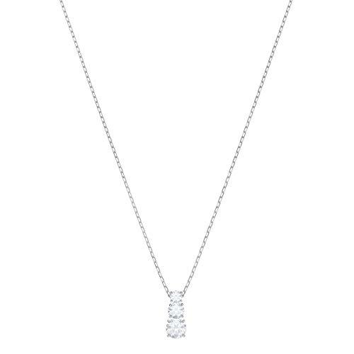 Swarovski Attract Trilogy Round Anhänger, Weiße und Rhodinierte Damenhalskette mit Einem Anhänger aus Drei Klaren Kristallen