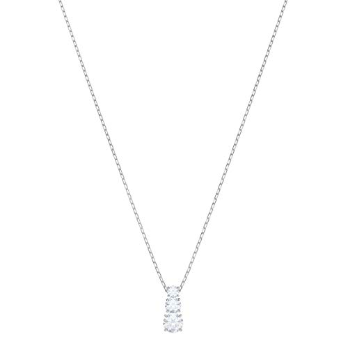 Swarovski Pendente Attract Trilogy Round, Bianco, Placcatura Rodio