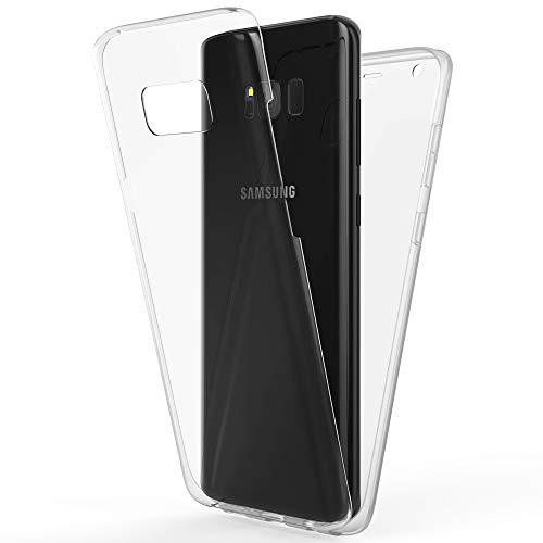 NALIA 360 Grad Handyhülle kompatibel mit Samsung Galaxy S8, Full-Cover Silikon Bumper mit Displayschutz vorne Hardcase hinten, Hülle Doppel-Schutz Dünn Ganzkörper Case Handy-Tasche, Farbe:Transparent