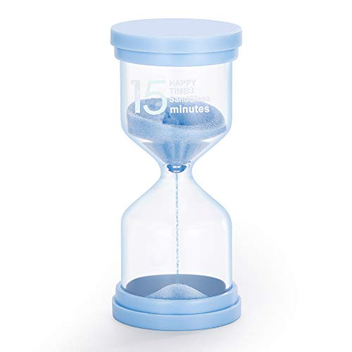 Hourglass 15 Minute Sand Timer:Large Colorful Sand Clock,Platsic Sand Watch 15 Min,Blue Unbreakable Hour Glass Sandglass for Child,Teacher,Games,Study