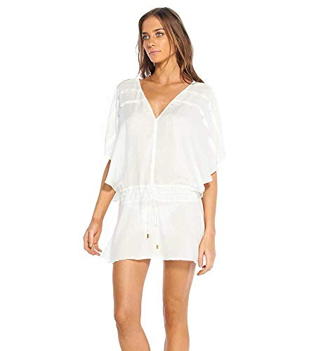 ViX Paula Hermanny Women's Vintage Pleats Tunic Swimsuit Cover Up (Medium, White)