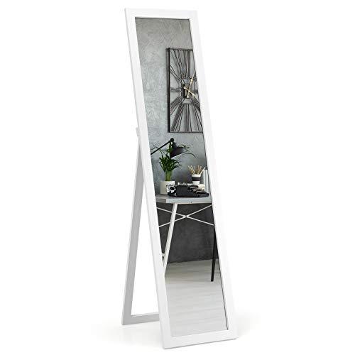 GOPLUS 2 in 1 Ganzkörperspiegel, Wandspiegel mit Hacken, Standspiegel mit Holzrahmen, Ankleidespiegel für Schlafzimmer oder Garderorber, verstellbare Winkelstufe, 147 x 29 cm, Farbwahl (Weiß)