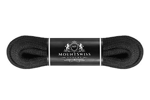 Mount Swiss Luxury Schnürsenkel rund ø 3-4 mm I 1 Paar reißfeste Premium Schuhbänder aus 100% Baumwolle ideal für Sneaker Sportschuhe Freizeitschuhe Lederschuhe Farbe: Black, Länge 70cm