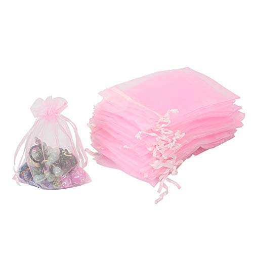 HRX Package 100pcs Pink Organza Bags,4 x 6 inches Wedding Christmas Favors Gift Drawstring Bags Jewelry Pouches