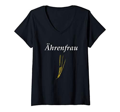Damen Ährenfrau T-Shirts Landwirt Bauer Lohner lustiges Geschenk T-Shirt mit V-Ausschnitt