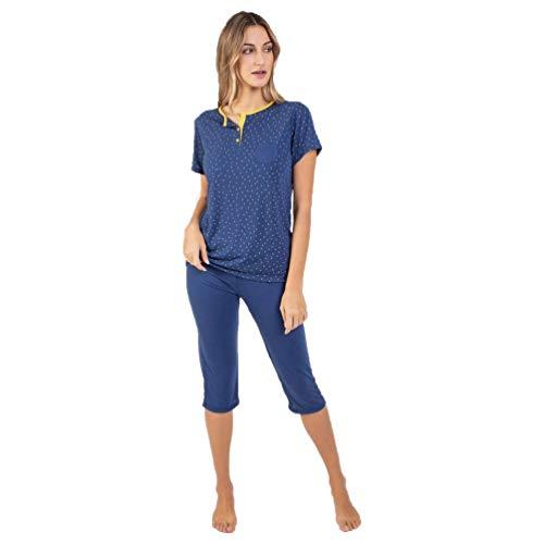Massana Pijama de Mujer con pantalón Pirata P211218 - Azul, XL