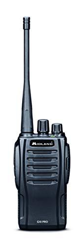 Midland G10 PRO Walkie Talkie Ricaricabile, Radio Ricetrasmittente Semi Professionale con 32 Canali PMR446, 50 Toni CTCSS, 116 Codici DCS, Batteria Li-Ion 1200mAh - 1 Walkie Talkie Nero con Caricatore