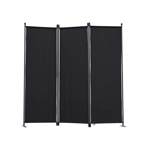 Angel Living Biombo Separador de 3 Paneles, Decoración Elegante, Separador de Ambientes Plegable, Divisor de Habitaciones, 169X165 cm (Negro)
