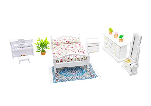 Hiawbon 1:12 Scale Mini Wooden Furniture Miniature Bedroom Furniture Set Fake House Accessories Furniture Model for Birthday Gifts