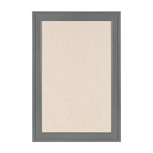 DesignOvation Bosc Framed Linen Fabric Pinboard, 18.5x27.5, Gray