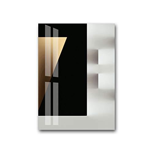 LiMengQi Moderno Nordic Golden Stereo Canvas Painting Poster Print Sala de Estar Dormitorio Wall Art Picture Negro Blanco Decoración Decoración para el hogar (Sin Marco)