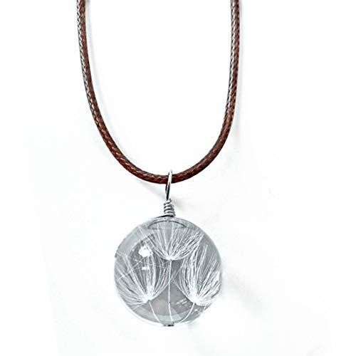 Ellepigy encanto de flor seca bola de cristal gargantilla transparente joyería collar