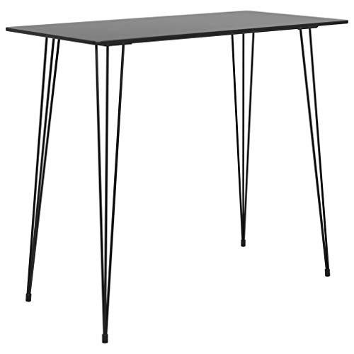 vidaXL Bartisch Bartresen Theke Stehtisch Tresentisch Küchentisch Bistrotisch Loungetisch Esstisch Tisch Schwarz 120x60x105cm Metall MDF