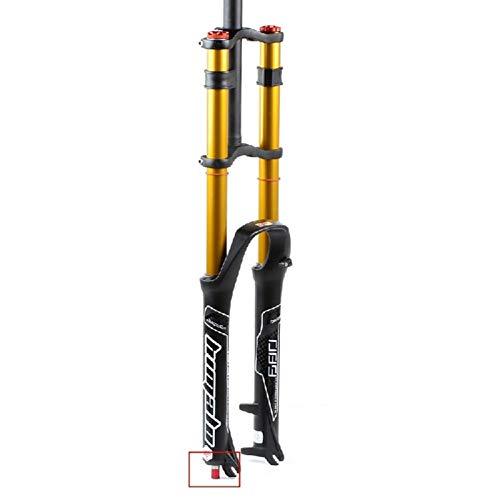 MZP Fahrradgabel 26 27.5 29 Zoll Doppelte Schulterkontrolle MTB Bergab Suspension Luftdruck Gerades Rohr Ultraleicht Aluminiumlegierung Stoßdämpfer Rebound Adjust (Color : Gold, Size : 27.5inch)