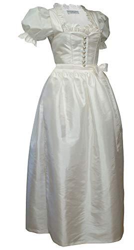 Kaiser Franz Josef Hochzeitskleid Dirndl Brautkleid mit Bluse Brautdirndl Braut-Dirndl Hochzeit Kleid Champagner Creme-Weiss mit Schürze edler TAFT Made in Austria, Größe:48