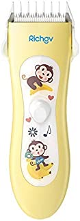 Baby Hair Clippers Richgv Electric Hair Trimmer USB Rechargeable, Waterproof Hair Clippers with 3 Guide Combs for Toddler and Baby Yellow
