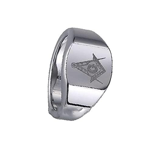 Anillo De Carburo De Tungsteno Para Hombre De 12 Mm Mason Freemason Masonic12Silver