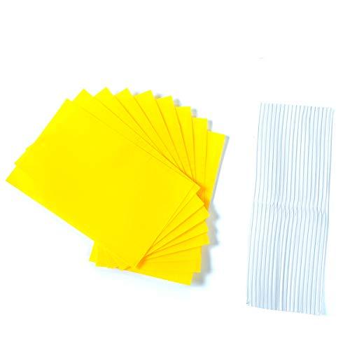 Allein 24PCS Gelbsticker, Gelbtafeln klein, Beidseitig Gelbtafeln, Klebende Fliegenfalle für Zimmerpflanzen, Gelb Fliegenfänger Sticker, Klebrige Insektenfallen und inkl. 24 Kabelbinder