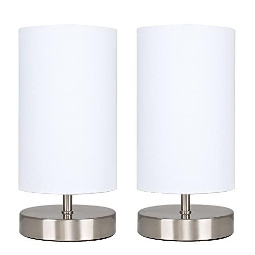 MiniSun - Set de 2 Lámparas de Mesas Táctiles/ Regulables - Diseño Cilíndrico con Bases Cromadas y Pantallas de Tela Blanca - Lámparas de mesita de noche