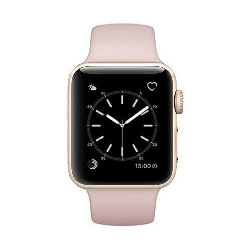 Apple Watch Series 2 Smartwatch 42mm Gold Aluminum Case Pink Sport Band (Pink Sport Band) (Pink) (Renewed)