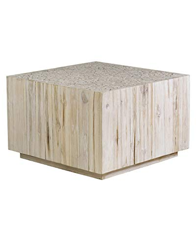 East At Main Rolfe Teak Coffee Table, White Wash