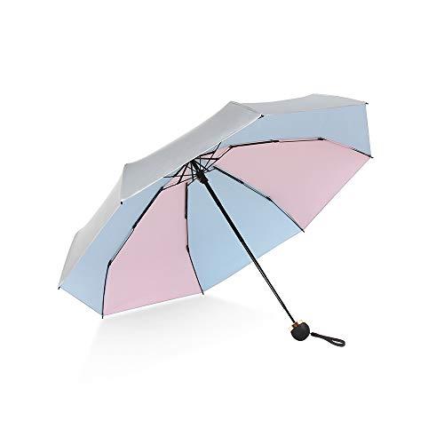 "ATOFUL 8Ribs UPF50+ UV Blocker Parasol Manual Mini Umbrella Windproof UV Protection Wind Resistant Lightweight Folding Sun-Rain Anti UV Umbrella 7.8"" Titanium Compact Vent Sun Umbrella (Pink-Blue)"