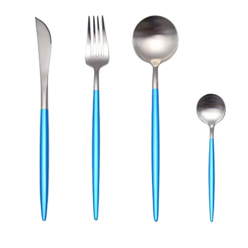 24pcs / set 304 Steel de acero inoxidable negro Negro Cubiertos Sistema de cubiertos Cuchillo de vajilla de vajilla de vajilla cubiertos de vajilla (Color : Coral blue Silver)