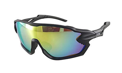 Ravs Gafas de ciclismo para triatlón, gafas de ciclismo, gafas de carretera, polarizadas, cristal transparente (oversize-Shield multicapa azul visión)