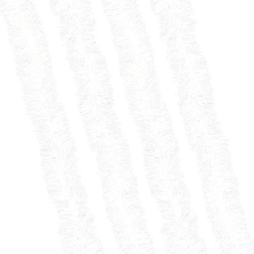 Robelli 8m of Thick Metallic Christmas Tree Tinsel Decoration (4x2m - White)