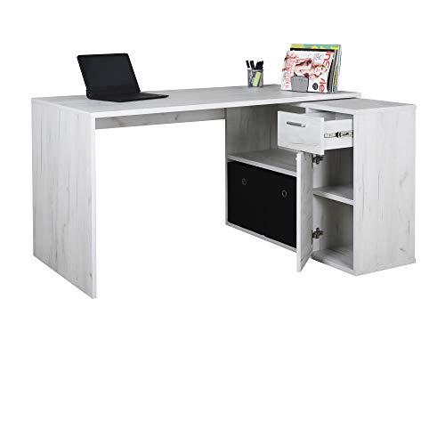 RICOO WM083-EP Escritorio esquinero Mesa Ordenador Esquina Organizador Oficina Muebles de hogar Buro rinconera PC Gaming Madera Roble Marron