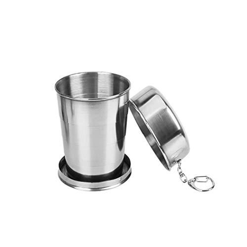 JRXyDfxn 1PC zusammenklappbarer Cup Edelstahl Faltbare im Freien Spielraum Cup tragbare Falten Camping-Schale mit Deckel 2 Unzen / 60 ml