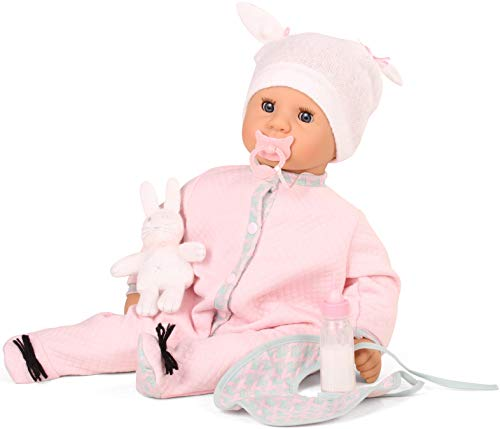 Götz 1761148 Cookie Care Puppe - Waffles mit Schmatz- und Weinfunktion - 48 cm große Babypuppe mit blauen Schlafaugen, ohne Haare und einem Weichkörper
