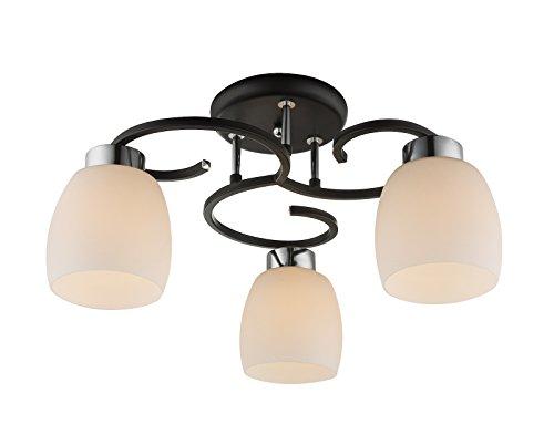Lámpara de techo con 3 focos, lámpara de cocina, 48 cm, pantalla de cristal (lámpara de techo, salón, dormitorio, retro, negro)