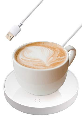 Zhangpu Calentador de tazas, almohadilla café, calentador bebidas USB, inteligente, interruptor táctil portátil, apagado automático del calentador, calefacción, color blanco