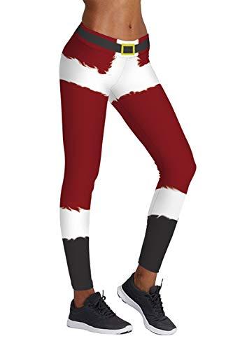 Pink Queen Santa Claus Novelty Christmas Leggings, Christmas Pattern 11, US L-XL