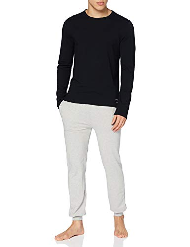 Superdry LS Top & Slim Pant Set Conjunto de Pijama, Black/Laundry Light Grey Marl, XXL para Hombre