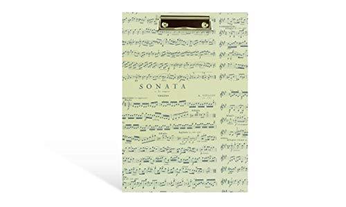 Klemm-Brett A4, für Noten und A4 Papiere, große Schreibplatte Hochformat, Bügel-Klemme 10 cm, 23 x 32,5 cm, schönes Geschenk Musiker