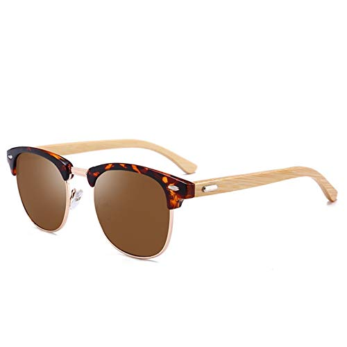 Gafas polarizadas Hombres Mujeres Mujeres de Madera Bambú Gafas de Sol Retro Marca Diseño Club Redondo Sunglass Reducción Medio Marco Eyewear (Color Name : C)