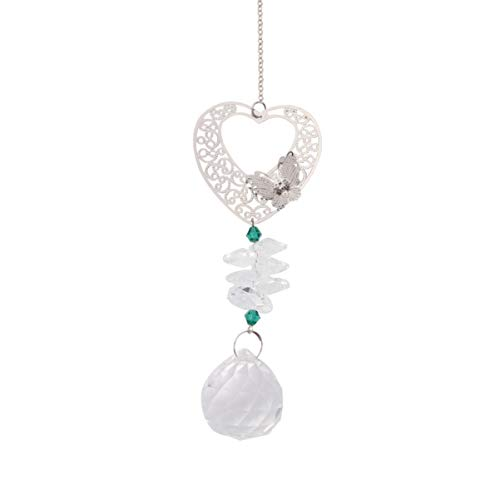 Hemoton Kristalle Kugel Prismen Sonnenfänger Hängen Kristalle Herz Ornament mit Klarer Kristallkugel für Home Office Garten Auto Anhänger