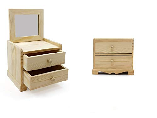 takestop Cajonera joyero madera 24 x 13 x 15 cm 2 cajones de escritorio accesorios objetos