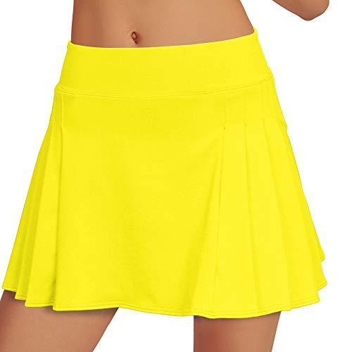 Saadiya Women's Running Skirt Active Athletic Sports Golf Tennis Skort Pleated for Girls Yellow