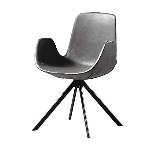 De cuero de la PU del sillón de la silla de comedor   Home Respaldo Cocina Desayuno Accent Chair   Silla de ordenador de estudio simple   Silla de negociación de oficina Gris