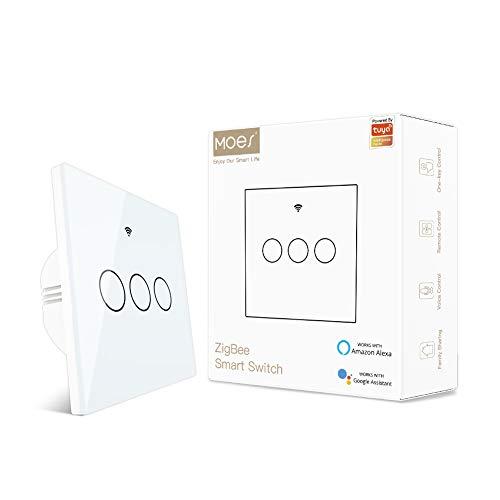 MOES Interruttore Smart touch senza cavo neutro, condensatore installabile con e neutro compatibile app Life Tuya Alexa Google Home 2MQTT richiede Hub ZigBee 3 Gang bianco