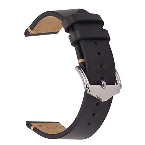 Mens Watch Band,EACHE Oil Wax Leather Watch Strap,Men Women Watch Replacement,Black-22mm