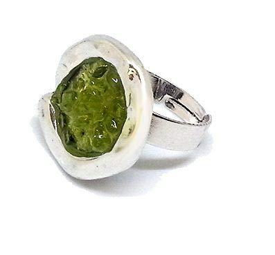 CLIPSEAM Olivina Ring (Peridoto), anpassbar, Zamak, rhodiniert, frei von Zink und Nickel